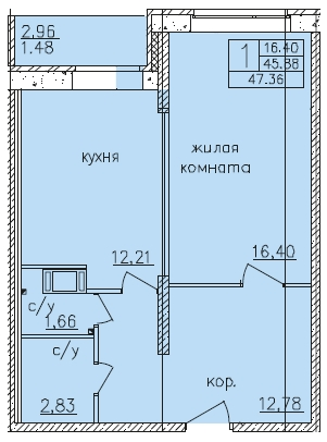Планировка Однокомнатная квартира площадью 47.8 кв.м в ЖК «Панорама 360»